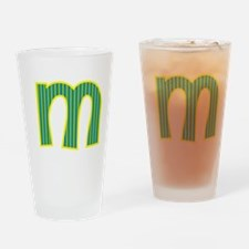Initial M with Blue/Green Stripes Drinking Glass