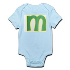 Initial M with Blue/Green Stripes Infant Bodysuit