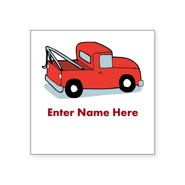 personalized tow truck square sticker 3 x 3 by giftnook. Black Bedroom Furniture Sets. Home Design Ideas
