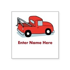 "Personalized Tow Truck Square Sticker 3"" x 3"""