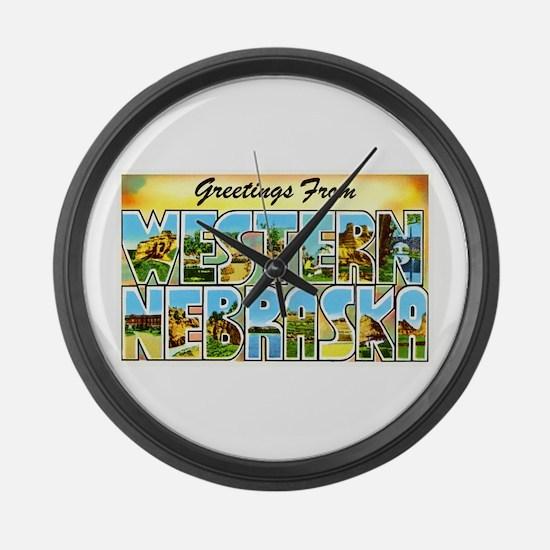Western Nebraska Greetings Large Wall Clock