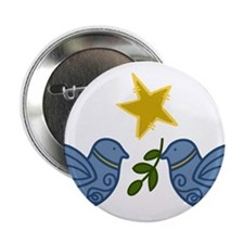 "Doves With Star 2.25"" Button"