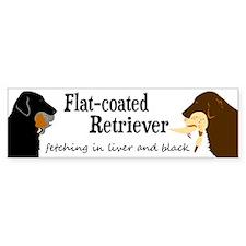 Fetching Flat-coated Retriever Bumper Bumper Stickers