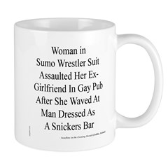 Strange Headline: Sumo Wrestler & Snickers Bar Mug