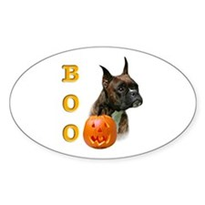 Halloween Boxer Boo Oval Decal