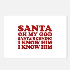 Santa Oh My God Postcards (Package of 8)