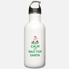 Keep calm and wait for santa Water Bottle