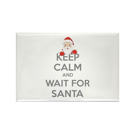Keep calm and wait for santa Rectangle Magnet (100