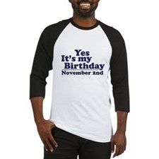 November 2nd Birthday Baseball Jersey