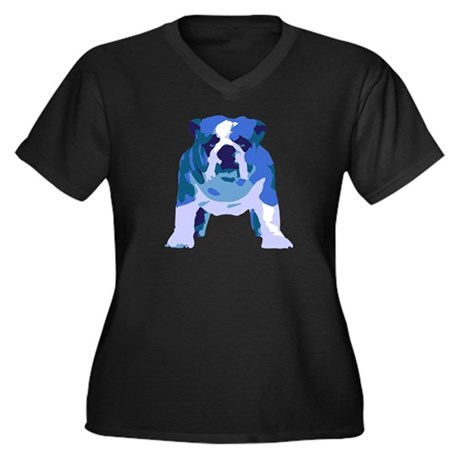 English Bulldog Pop Art Women's Plus Size V-Neck D
