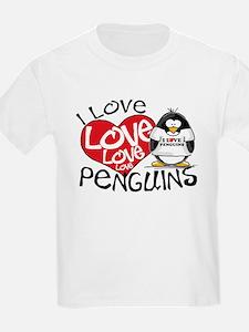 I Love Love Love Penguins Ash Grey T-Shirt T-Shirt
