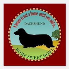 "Dachshund [long-haired] Square Car Magnet 3"" x 3"""
