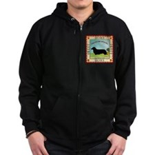 Dachshund [long-haired] Zip Hoodie