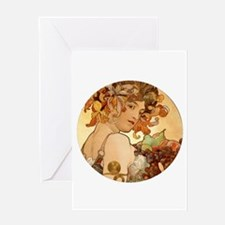 round mucha.png Greeting Card