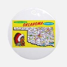 Oklahoma Map Greetings Ornament (Round)
