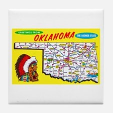 Oklahoma Map Greetings Tile Coaster