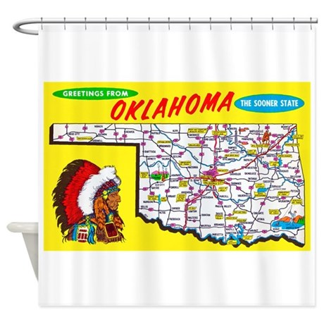 Oklahoma Map Greetings Shower Curtain By W2arts