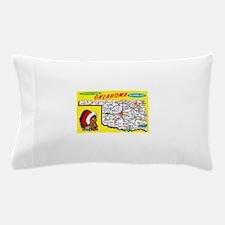 Oklahoma Map Greetings Pillow Case