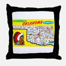 Oklahoma Map Greetings Throw Pillow