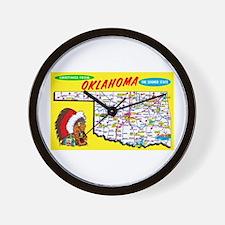 Oklahoma Map Greetings Wall Clock