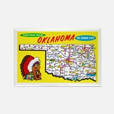 Oklahoma Map Greetings Rectangle Magnet