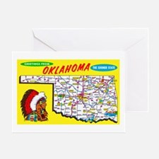 Oklahoma Map Greetings Greeting Card