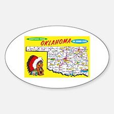 Oklahoma Map Greetings Sticker (Oval)