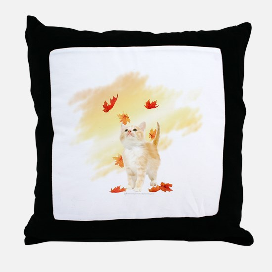 Autumn Kitten and Maple Leaves Throw Pillow