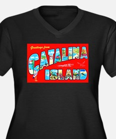 Catalina Island Greetings Women's Plus Size V-Neck