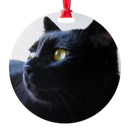 Black Cat in Profile Round Ornament