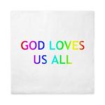 GOD LOVES US ALL Queen Duvet