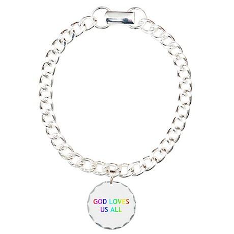 GOD LOVES US ALL Charm Bracelet, One Charm