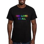 GOD LOVES US ALL Men's Fitted T-Shirt (dark)