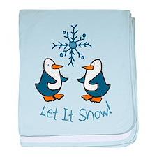 Let It Snow Penguin baby blanket