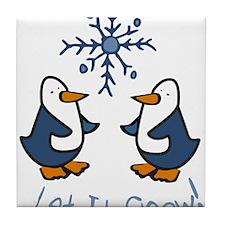 Let It Snow Penguin Tile Coaster