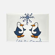 Let It Snow Penguin Rectangle Magnet