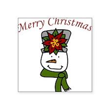 "Christmas Snowman Square Sticker 3"" x 3"""