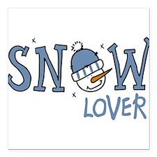 "Snow Lover Square Car Magnet 3"" x 3"""