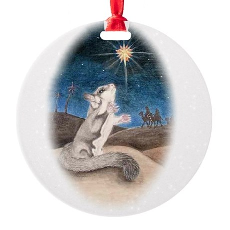 Following the star Round Ornament