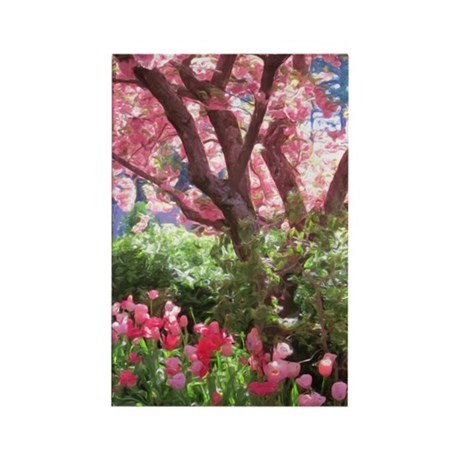 Cherry Blossom & Tulips Rectangle Magnet (10 p