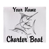 Fishing sailfish charter boat Fleece Blankets