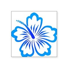Blue Hibiscus Oval Sticker