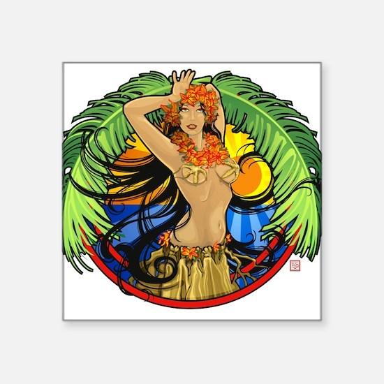 Hawaiian Hula Girl Oval Sticker