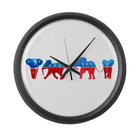 Republican Elephants Large Wall Clock