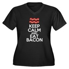 keep-calm-bacon-funny Women's Plus Size V-Neck Dar