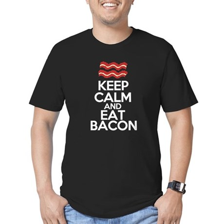 keep-calm-bacon-funny Men's Fitted T-Shirt (dark)