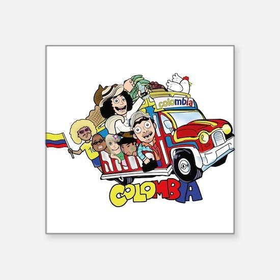 """Colombian Chiva Square Sticker 3"""" x 3"""""""