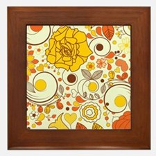 70s Autumn Floral Print Framed Tile