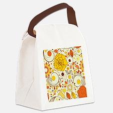 70s Autumn Floral Print Canvas Lunch Bag