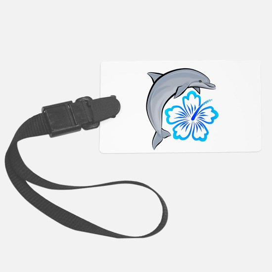 Dolphin-flower-blue.png Luggage Tag